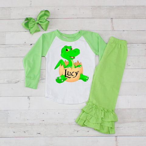 Little Lime Dino Personalized 3pc Shirt and Ruffle Pants Set