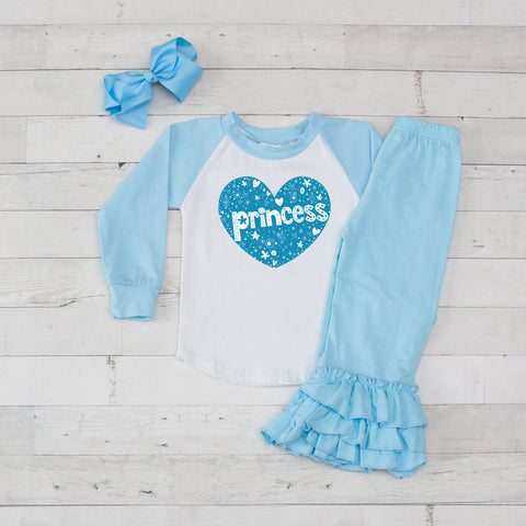Light Blue Princess Hearts 3pc Shirt and Ruffle Pants Set