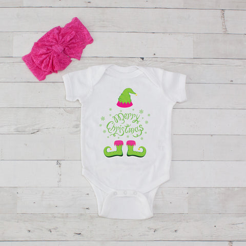 Merry Christmas (Lime Elf) Bodysuit and Bow Headband