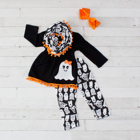 Black & White Ghost A-Line Tunic Set - Top, Pants & Scarf