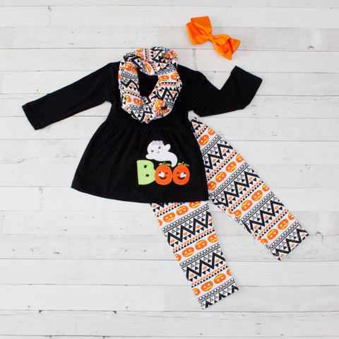 Black, White & Orange Boo Ghost A-Line Tunic Set - Top, Pants & Scarf