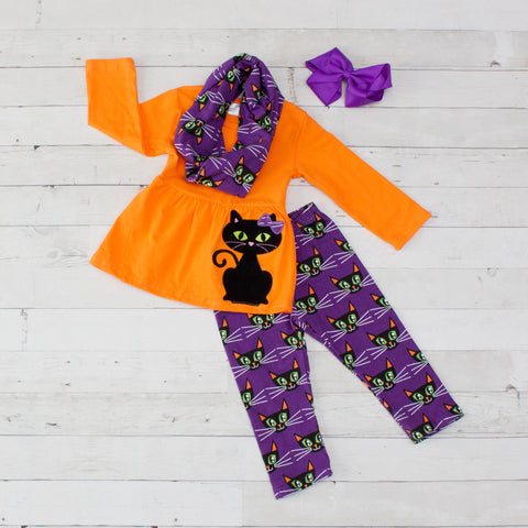 Orange & Purple Black Cat A-Line Tunic Set - Top, Pants & Scarf