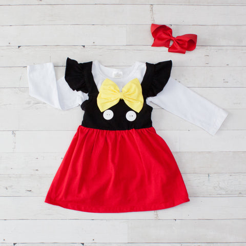 MInnie Mouse Inspired Long Sleeve Dress