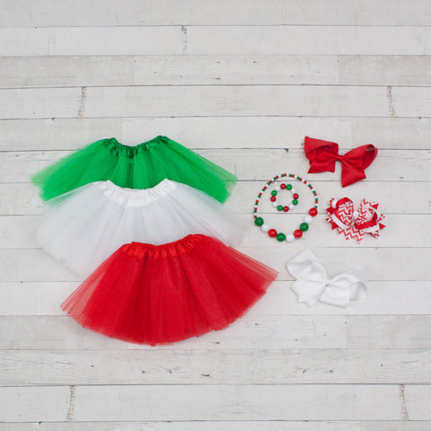 Tutu Accessory Gift Set - Green, White & Red