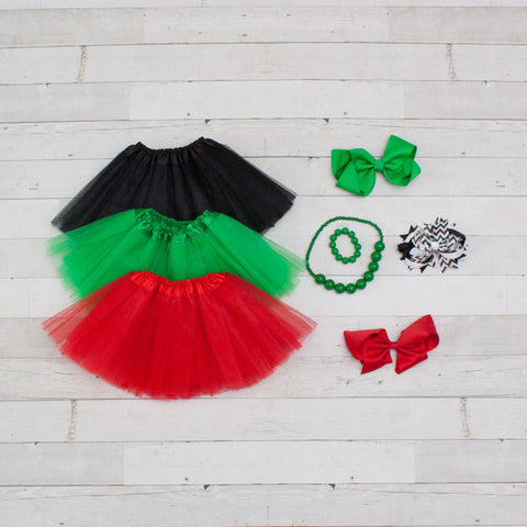 Tutu Accessory Gift Set - Black, Green & Red