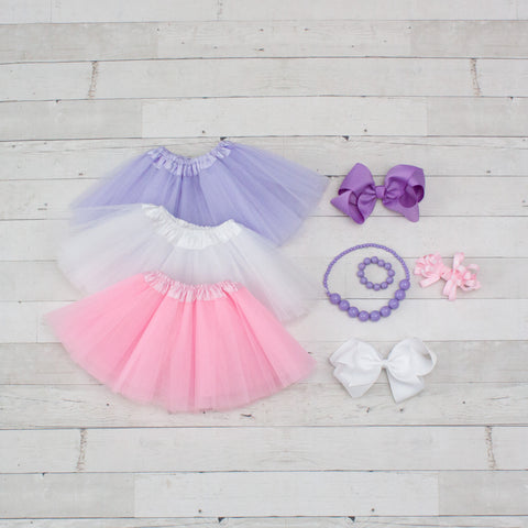Tutu Accessory Gift Set - Lavender, White & Pink