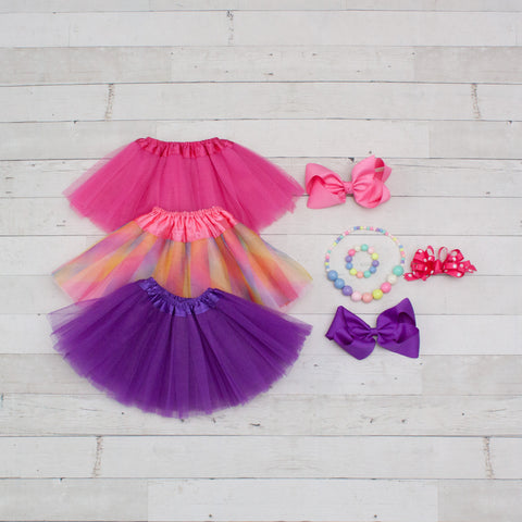 Tutu Accessory Gift Set - Hot Pink, Rainbow Pastel & Purple