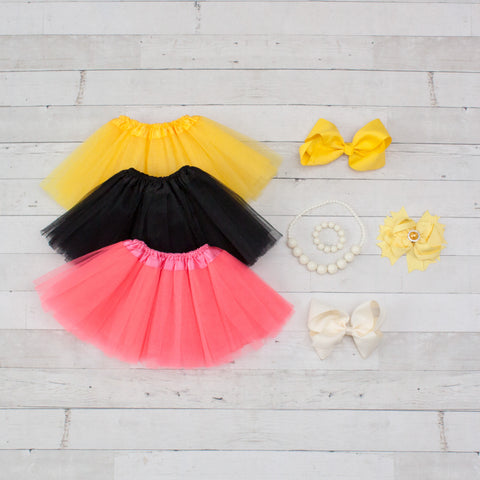 Tutu Accessory Gift Set - Yellow, Black & Neon Pink