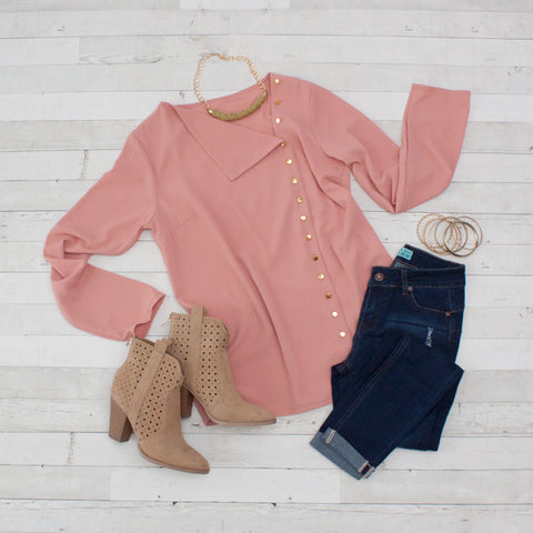 Blush Turn-down Collar Asymmetric Blouse