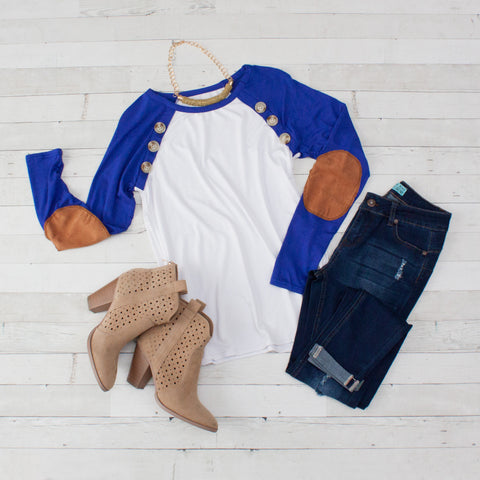 Blue Long Sleeve Raglan Tee with Elbow Patches