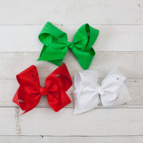 "6"" Holiday Sparkly Grosgrain Hair Bow Clip - Set of 3"