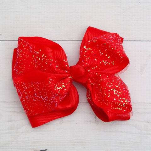 "6"" Red Holiday Sparkly Grosgrain Hair Bow Clip"