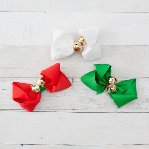 "4"" White Jingle Bell Grosgrain Hair Bow Clip"
