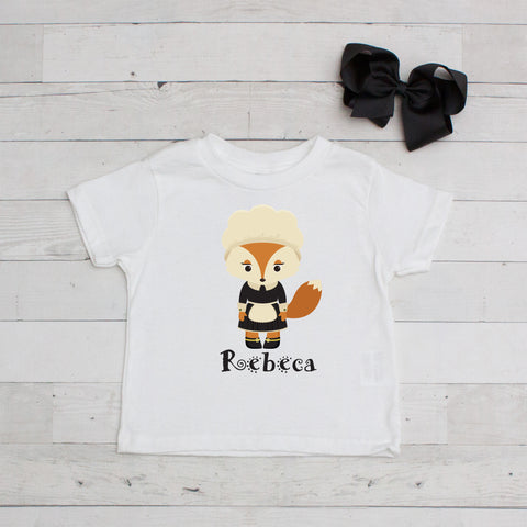 Pilgrim Fox Girl Personalized Graphic T-Shirt
