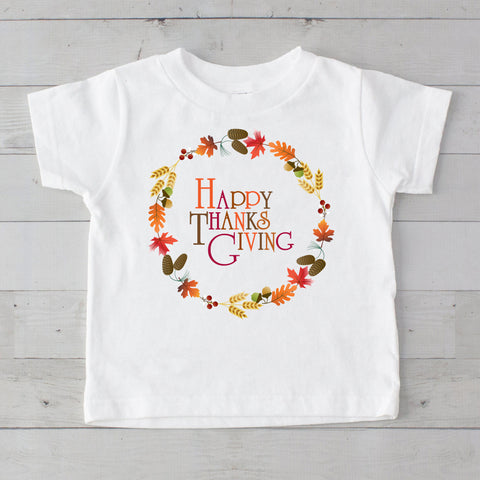 Happy Thanks Giving Wreath Graphic T-Shirt