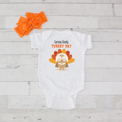Turkey Day - 2pc Personalized Onesie and Bow Headband