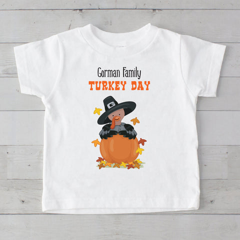 Turkey Day in a Pumpkin Personalized Graphic T-Shirt