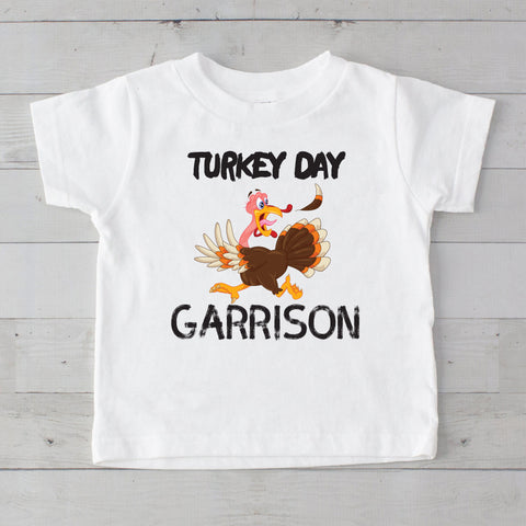Turkey Day Turkey Chase Personalized Graphic T-Shirt