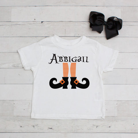 Orange Striped Witch Legs Personalized Graphic T-Shirt