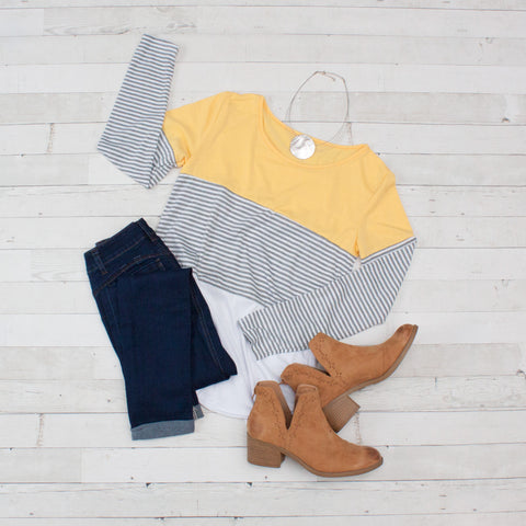 Yellow Block Color Striped Long Sleeve Shirt