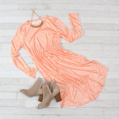 Peach Polka Dot Long Sleeve Skater Dress