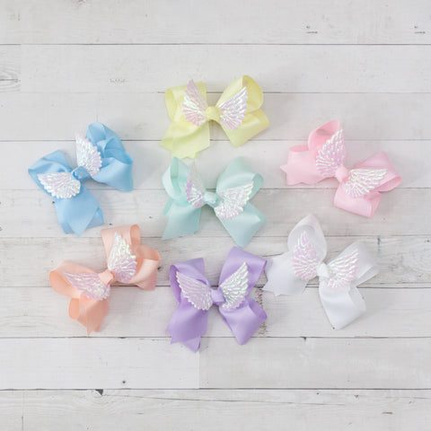 "6"" Angel Wing Grosgrain Pastel Hair Bow Clip - 9 Colors"
