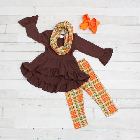 Brown with Orange & Green Plaid A-Line Tunic Set - Top, Pants & Scarf
