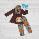 Brown with Tribal Turkey A-Line Tunic Set - Top, Pants & Scarf
