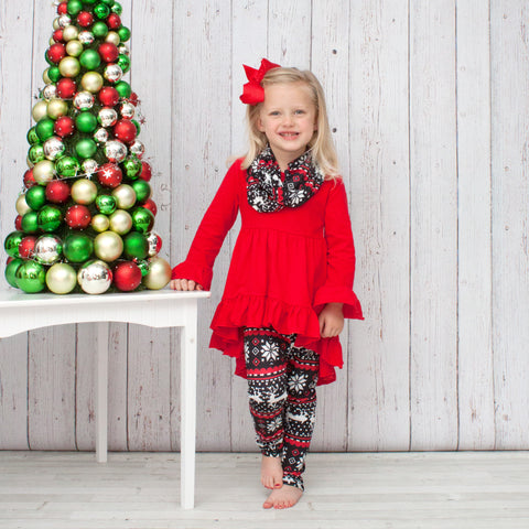 Red, White and Black Snowflake with Reindeer A-Line Tunic Set - Top, Pants & Scarf