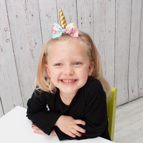 Unicorn with Bow Headbands - 2 Colors to Choose from