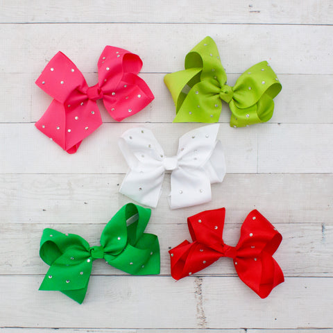 "6"" Grosgrain Hair Bow with Rhinestones - 5 Colors"