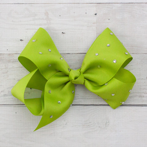 "6"" Lime Rhinestone Grosgrain Hair Bow Clip"