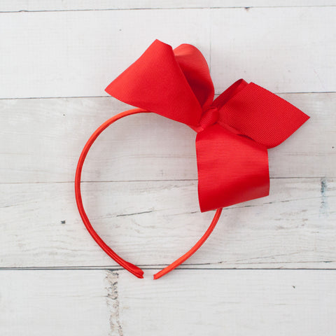 "6"" Red Grosgrain Bow Headband"