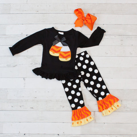 Candy Corn - Black & White Long Sleeve Pant Set - Top & Pants