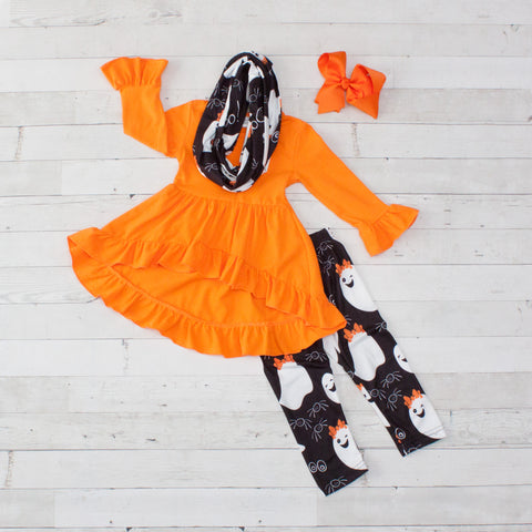 Orange with Black & White Ghosts A-Line Tunic Set - Top, Pants & Scarf