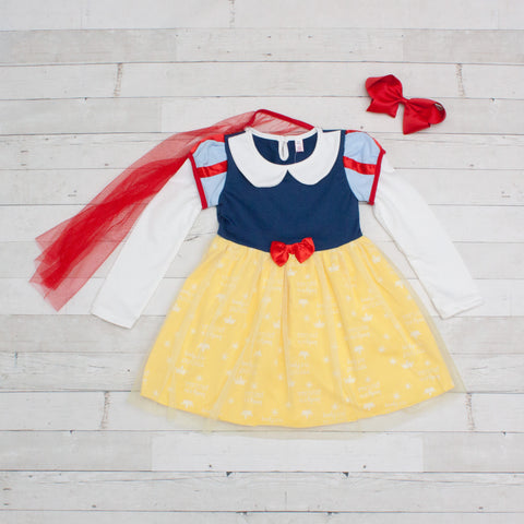 Girls Character Inspired Long Sleeve Dress - Snow White