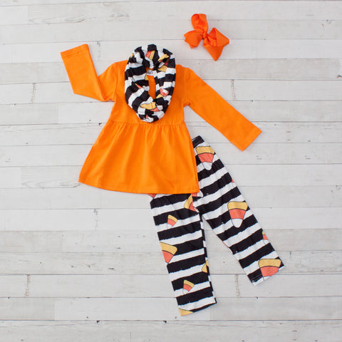 Trick or Treat - Candy Corn A-Line Tunic Set - Top, Pants & Scarf