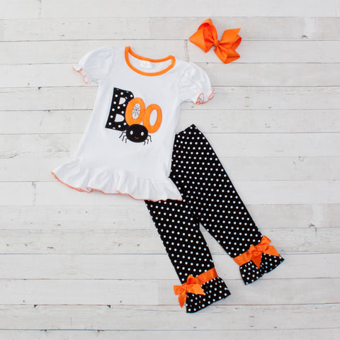 Boo Cutie - Boo! Black and White Polka Dot Pant Set - Top & Pants