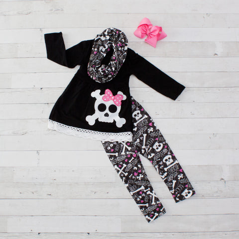 Bonita - Black & White Skull A-Line Tunic Set - Top, Pants & Scarf