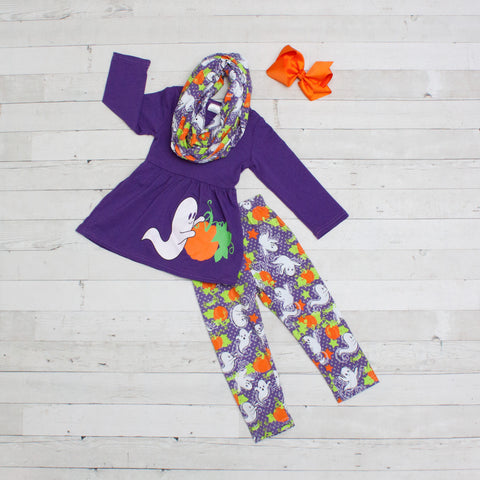 Ghostly Cute - Purple Ghost Pumpkin A-Line Tunic Set - Top, Pants & Scarf