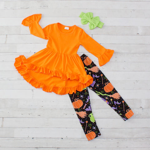 Little Witchy - Orange with Halloween Print A-Line Tunic Set - Top & Pants