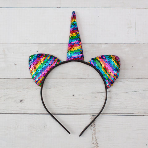 "3.5"" Flip Sequin Unicorn Headbands - 2 Colors to Choose from"