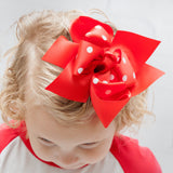 "6"" Red with Red and White Polka Dots Grosgrain Hair Bow Clip"
