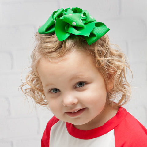 "6"" Green with Green and White Polka Dots Grosgrain Hair Bow Clip"