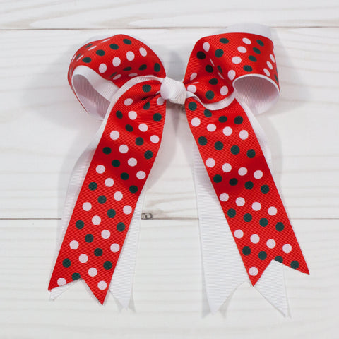 "6"" White & Red Double Tail Bow Hair Clip with White Polka Dots"