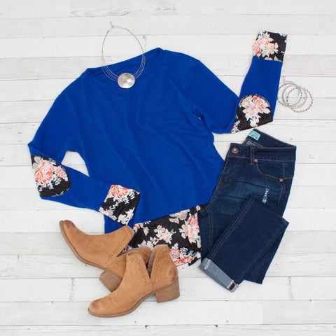 Dark Blue with Floral Patchwork Long Sleeve Shirt