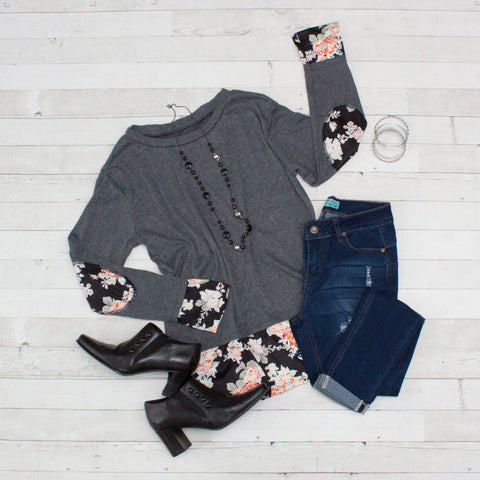 Dark Gray with Floral Patchwork Long Sleeve Shirt