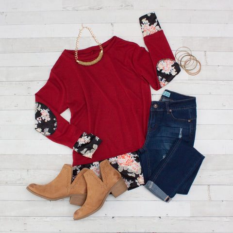 Burgundy with Floral Patchwork Long Sleeve Shirt