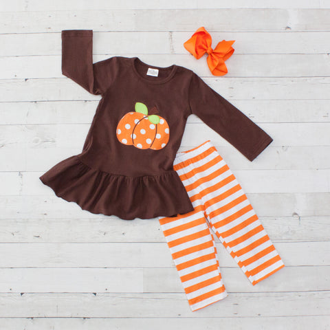 Brown and Orange Polka Dot Pumpkin Long Sleeve Pant Set - Top & Pants