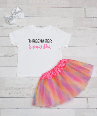 Threenager - Personalized Birthday 3pc T-Shirt and Tutu Set
